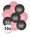 Feestartikelen lampionnen zwart/roze10x
