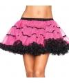 Luxe petticoat voor dames fuchsia met zwart