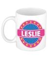 Leslie naam koffie mok beker 300 ml