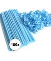 Lichtblauwe ballonstaafjes 100 stuks