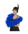 Luxe blauwe veren boa 80 gram