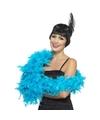 Luxe turquoise blauwe veren boa 80 gram