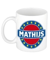 Mathijs naam koffie mok beker 300 ml