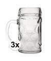 Oktoberfest 3x voordelige bierpullen bierglazen 1 liter
