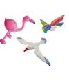 Opblaasbare flamingo meeuw en papegaai