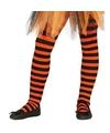 Oranje zwart gestreepte panty 15 denier voor meisjes