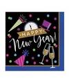 Oud en nieuw servetten zwart blauw happy new year 16 stuks