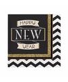 Oud en nieuw servetten zwart goud happy new year 16 stuks