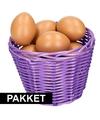 Paars paasmandje met eieren naturel 14 cm