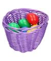 Paars paasmandje met gekleurde eieren 14 cm