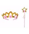 Prinsessen kroontje met stafje goud