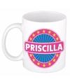 Priscilla naam koffie mok beker 300 ml