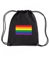 Regenboog nylon rugzak zwart met regenboog vlag
