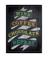 Metalen kroegbordje Wine Coffee Chocolate Repeat 15 x 20