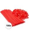 Rode ballonstaafjes 100 stuks
