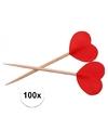 Rode hartjes cocktailprikkers 100 stuks