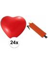 Rode hartjesballonnen 24 stuks inclusief ballonpomp