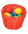Rood paasmandje met gekleurde eieren 14 cm