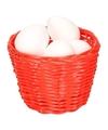Rood paasmandje met piepschuim eieren 14cm