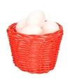 Rood paasmandje met plastic eieren 14cm