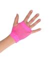 Roze grunge gothic korte visnet handschoenen voor volwassenen