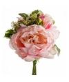 Roze kunstbloemen boeket 20 cm pioenroos dille