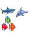 Set van 3x opblaasbare vissen een dolfijn en een haai