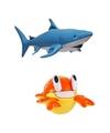 Set van opblaasbare zeedieren haai en krab