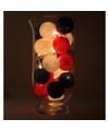 Sfeerverlichting rode witte en blauwe balletjes in vaas
