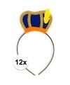 Sinterklaas 12 x pieten diadeem met blauw baretje voor kinderen