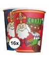 Sinterklaas 16x kartonnen sinterklaas bekers
