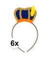 Sinterklaas 6 x pieten diadeem met blauw baretje voor kinderen