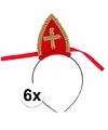 Sinterklaas 6 x sinterklaas diadeem met mijter voor kinderen