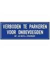 Verboden te parkeren voor onbevoegden sticker 14 8 x 10 5 cm