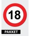 18 jarige verkeerbord decoratie pakket