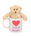 Voor de liefste mama mok beker met knuffelbeer voor moederdag