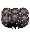 Zwarte ballonnen met gouden sterren 6 stuks